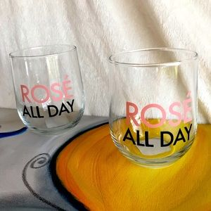 NEW! Rosé All Day Set of 2 glass wine tumbler cups